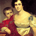 900 Classic russian paintings - Kiprensky Orestes - Portrait Avdotya Ivanovna Molchanova with her daughter Elizabeth. 1814