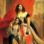 900 Classic russian paintings - BRYULLOV Karl - Portrait of Countess Julia Samoilova, moving away from the ball with the stepdaughter Amatsiliey Pachchini