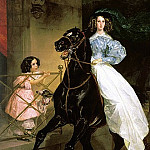 900 Classic russian paintings - BRYULLOV Karl - horsewoman. 1832