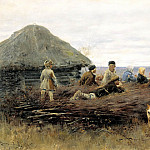 Alexei Stepanov - Children on firewood, 900 Classic russian paintings