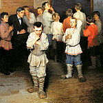 900 Classic russian paintings - Bogdanov-Belsky Nikolai - Oral expense. In the folk school SA Rachinsky