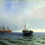 The seizure of ship Russia of the Turkish military traffic, Messina in the Black Sea on Dec. 13, 1877, Ivan Konstantinovich Aivazovsky