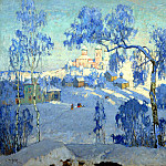 900 Classic russian paintings - Gorbatov Constantine - Winter landscape with church. 1925