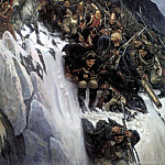 Surikov Vasily - Suvorov Crossing the Alps in 1799, 900 Classic russian paintings