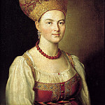 Argun Ivan - Portrait of an unknown peasant woman in Russian costume, 900 Classic russian paintings