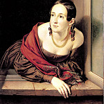 Tropinin Basil – A woman in the window . 1841, 900 Classic russian paintings