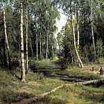 Shishkin Ivan - Stream in a birch forest, 900 Classic russian paintings