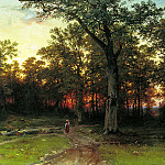 900 Classic russian paintings - Shishkin Ivan - Wood in the evening