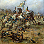 Mazurovskii Victor - Fight for the banner, 900 Classic russian paintings