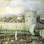 900 Classic russian paintings - Vasnetsov Apollinary - Moscow Kremlin under Dmitry Donskoy