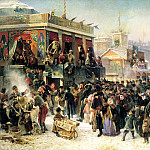 900 Classic russian paintings - MAKOVSKY Constantine - festivities in the Carnival on the Admiralty Square in St. Petersburg