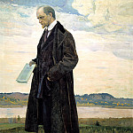 900 Classic russian paintings - Nesterov Mikhail - Thinker. Portrait of Ivan Aleksandrovich Ilin
