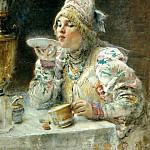 900 Classic russian paintings - MAKOVSKY Constantine - Drinking Tea