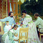 Kustodiyev Boris - On the terrace, 900 Classic russian paintings