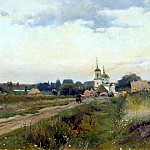 MAKOVSKY Alexander – Landscape with Church, 900 Classic russian paintings