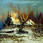 900 Classic russian paintings - Klever Julius - Winter landscape with a hut. 1