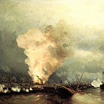 900 Classic russian paintings - Ivan Aivazovsky - Sea battle at Vyborg, June 29, 1790