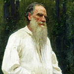 900 Classic russian paintings - Ilya Repin - Leo Tolstoy barefoot