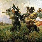 Michael Avila - Duel in the Kulikovo, 900 Classic russian paintings