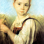 900 Classic russian paintings - Venetsianov Alexei - Country Girl with a sickle in the Rye