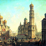 900 Classic russian paintings - Fedor Alekseev - Cathedral Square in the Moscow Kremlin