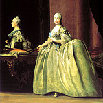 Eriksen Vigilius - Portrait of Catherine II before the mirror, 900 Classic russian paintings