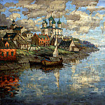 900 Classic russian paintings - Gorbatov Constantine - View from the river to the old town. 1915