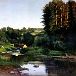 Kryzhitsky Constantine – Village on the banks of the river, 900 Classic russian paintings