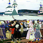 900 Classic russian paintings - Kustodiyev Boris - Fair. 1906
