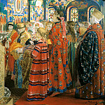 900 Classic russian paintings - Ryabushkin Andrew - Russian women in the XVII century in the church