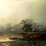 Brick Leo - Fog. Red Pond in Moscow in the autumn, 900 Classic russian paintings