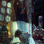 900 Classic russian paintings - Ivan Glazunov - Procopius Ustyug prayer assigns a cloud of stone from the city Ustyug
