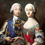 Groot Georg - Portrait of Tsarevich Peter Fedorovich and Grand Duchess Catherine Alekseevna. 1740-e, 900 Classic russian paintings