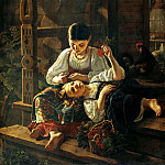 900 Classic russian paintings - FELITSYN Rostislav - On the porch of the house