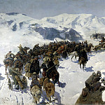 900 Classic russian paintings - Franz Roubaud - Transition prince Argutinsky through the Caucasus range