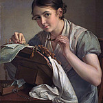 Tropinin Vasily - Lacemaker, 900 Classic russian paintings