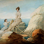 900 Classic russian paintings - SOKOLOV Peter - Portrait of Empress Alexandra and Grand Duchess Maria Nikolaevna on the shore