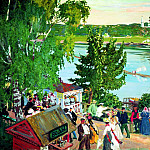 Kustodiyev Boris - festivities on the Volga, 900 Classic russian paintings
