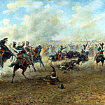 Mazurovskii Victor - cavalry battle, 900 Classic russian paintings