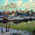 Gorbatov Constantine – Early Spring. City River, 900 Classic russian paintings