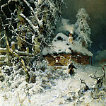 900 Classic russian paintings - Klever Julius - Winter landscape with a hut