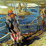 Bogdanov-Belsky Nikolai - Crossing, 900 Classic russian paintings