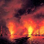 900 Classic russian paintings - Ivan Aivazovsky - Sinop fight on Nov. 18, 1853 (the night after the battle)