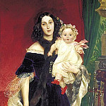 900 Classic russian paintings - BRYULLOV Karl - Portrait of Maria Arkadyevna Beck and his daughter. 1840