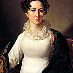 900 Classic russian paintings - Tropinin Vasily - Portrait Akhmatova Tropinina, sister of the artist. 1827