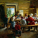 Makovsky Vladimir - The rural school, 900 Classic russian paintings