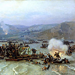Nikolai Dmitriev-Orenburgsky - Crossing the Russian army over the Danube at Zimnitsa June 15, 1877, 900 Classic russian paintings