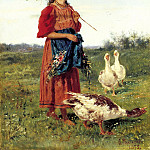 Makovsky Vladimir – Girl with geese, 900 Classic russian paintings