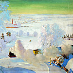 900 Classic russian paintings - Kustodiyev Boris - Skiers