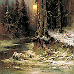 Klever Julius - Sunset in winter. 1, 900 Classic russian paintings